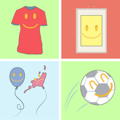 Set of cute icons. Shirt, frame, and balloon.