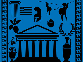Traditional symbols of Greece on blue background