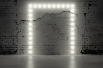 grungy brick wall with lamps