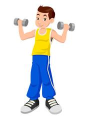 Cartoon illustration of a boy exercising using dumbbells