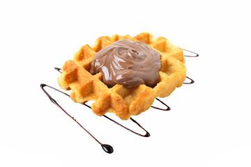 dessert waffles con cioccolato su sfondo bianco