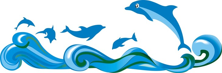 Прыгающие над волнами дельфины в море