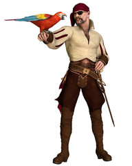 Old Pirate with Parrot