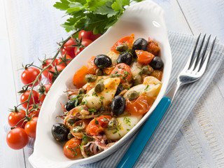 squid with tomatoes olives and capers