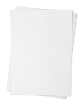 Two paper sheets isolated on white with clipping path