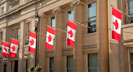 Canadian National Flags, Canada House, London.