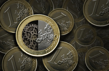 Euro coins and gears inside