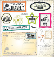 Post stamp, Summer holiday and travel time label