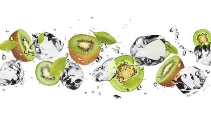 Foto op Canvas Opspattend water Ice fruit on white background