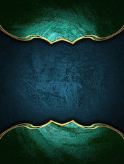 Blue texture with green edges and gold trim