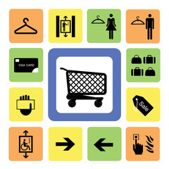 shopping mall icons set 2