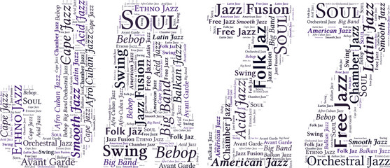 Vector Word Cloud with the word of Jazz on white background