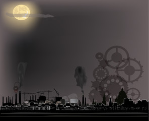 industrial city landscape at moon