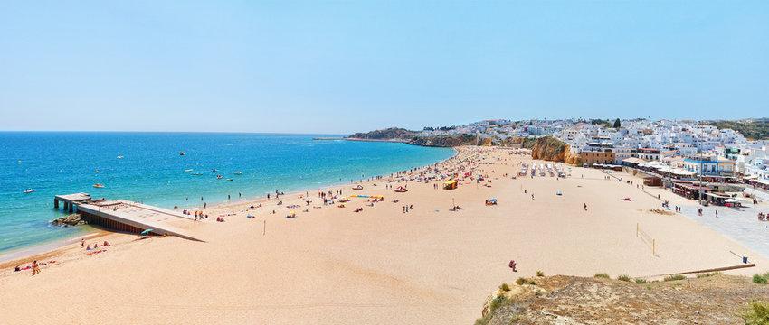 Wonderful summer panorama of sea and beach in Albufeira. Portuga
