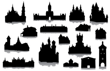 Fototapeta Set of buildings silhouettes obraz