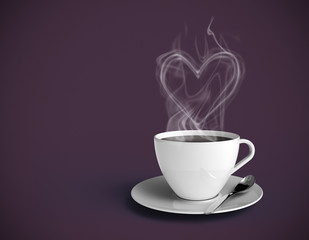 Coffee heart. Purple background. Insert your own text.