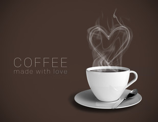 Coffee with a steamy heart. Coffee made with love