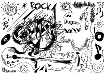 Doodle crazy rock music background and texture