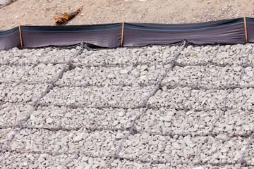 Gravel wire mesh bank revetment erosion control Wall mural
