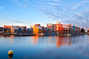 Wall Mural - buildings on water at Reitdiephaven, Groningen