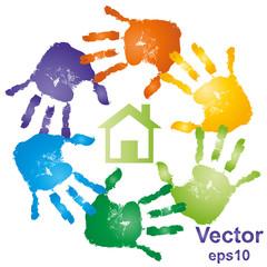Conceptual vector building with handprints