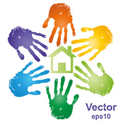 Conceptual vector building with handprints
