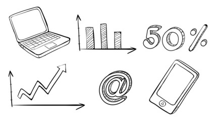 A laptop, graph, phone and other symbols