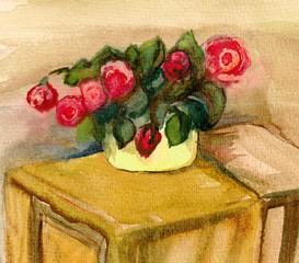 Roses in a pan