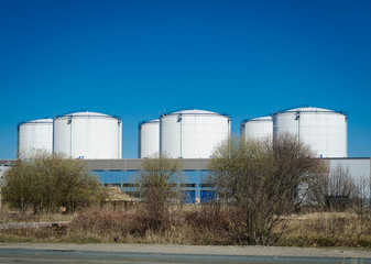Storage tanks at the factory