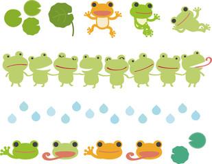 カエルのイラストとライン