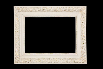 Vintage white frame on black background