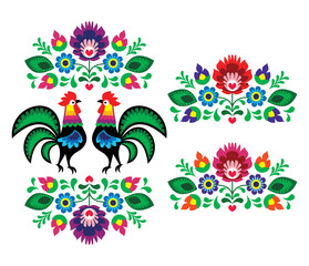 Polish ethnic floral embroidery with roosters traditional