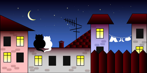 Two cats on the roof