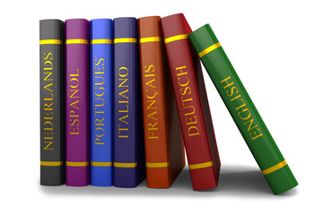 A stack of books on the study of languages