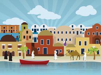 Oriental city illustration