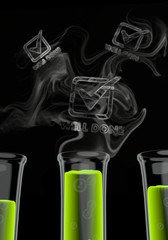 3d render of a isolated well done icon formed by smoke