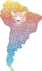 Abstract Jaguar on the map of South America