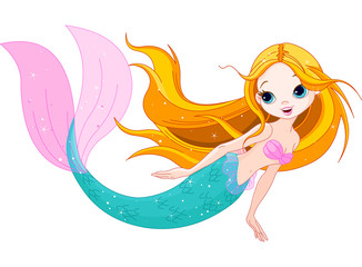 Deurstickers Zeemeermin Cute Mermaid
