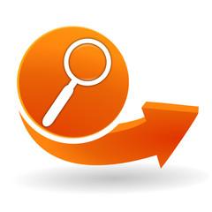 Fototapete - recherche sur bouton web orange