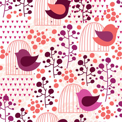 Deurstickers Vogels in kooien Cage and bird seamless pattern