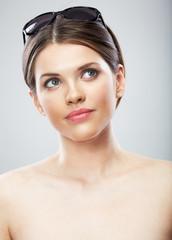 Beautiful young woman beauty close up face portrait