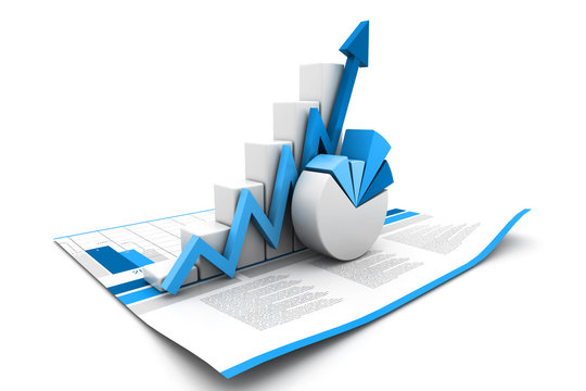 3d business growth graph.