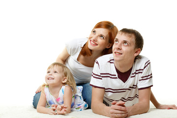 Happy young family with child.