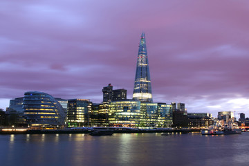 New London City at the evening, panoramic view.