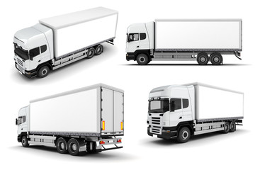 3d truck on white background