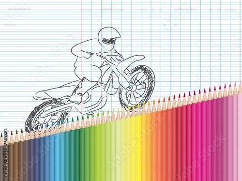 Dessin Et Crayons De Couleur Moto Cross Stock Image And Royalty