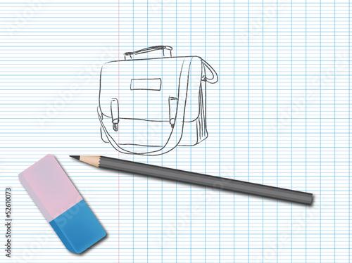 Dessin au crayon sur un cahier cartable fichier - Dessin d un cartable ...