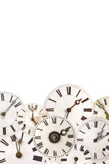 Set of vintage clock faces isolated on white