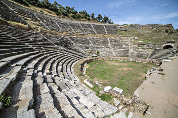 Amphitheatre of Nysa Ancient City in Aydin, Turkey