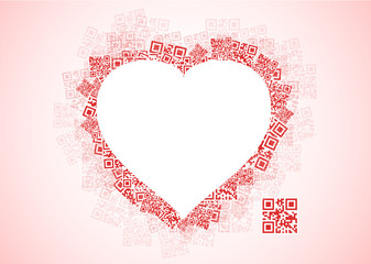 QR heart with message I LOVE YOU in QR code